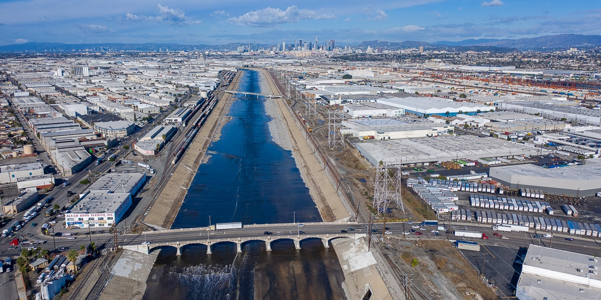 Los Angeles River And Downtown