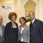 From left, TCCF President Jay Brijpaul, Julius Williams and daughter Jalissa Williams - a TCCF angel - and Fitzroy Gordon. Gerald V. Paul photo.