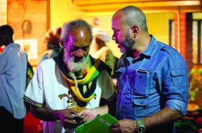 World Cannabis Cup organizer Ras Iyah V, left, confers as the event gets ready to roll.