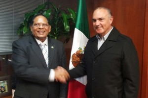 Guyana's Prime Minister Moses Nagamootoo and Mexican Agriculture Minister Jose Calzada.