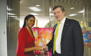 Mayor John Tory and artist Camille Lauren discuss issues facing Toronto. Gerald V. Paul photo. By Gerald V. Paul