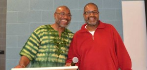 The African Canadian Muslim Association's Khalid Haneef-Jabari and the African Canadian Legal Clinic's Rawle Elliott at the Malcom X event which included a musical tribute. Gerald V. Paul photos.