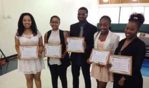 Five students received the Westend Sports and Cultural Club 2016 Scholarship Award recently at the club's annual spring brunch. From left are Chauntae Degannes, Jasmine Anthony, Bradley Bernard, Adaijah Wilson and Teneale Alexander.