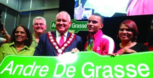 Canadian sprinter Andre De Grasse was honoured at a homecoming celebration in Markham, Ontario on Sunday. A street in the city will be named after him.