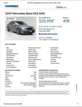 2007 E63 $26,998 49k