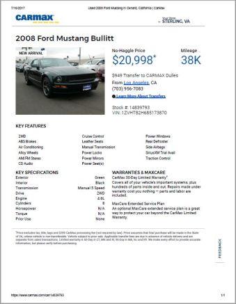 2008 Ford Mustang Bullitt $20,998 38k