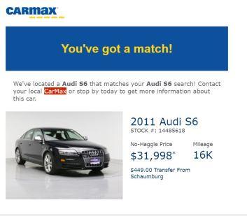 Alert - 2011 Audi S6 $31,998 16k