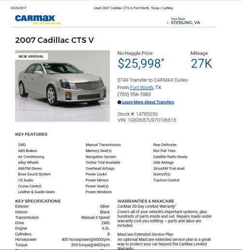 2007 CTS V Sedeqn $25,998 27k
