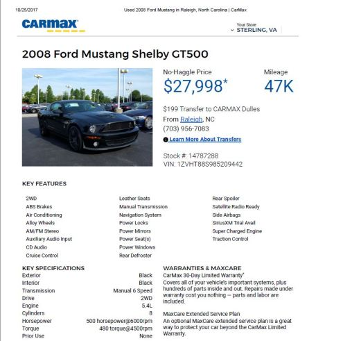 2008 Mustang Shelby GT500 $27,998 47k