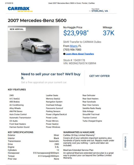 2007 S600 $23,.998 37000