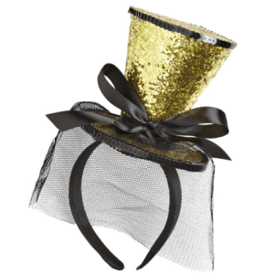 GOLD GLITTER MINI TOP HAT ON HEADBAND WITH BOW & VEIL
