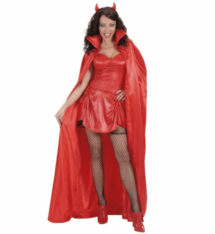 RED LINED SATIN CAPE