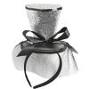SILVER GLITTER MINI TOP HAT ON HEADBAND WITH BOW & VEIL
