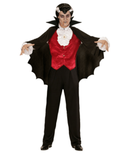 BLACK VAMPIRE CAPE WITH STAND-UP COLLAR