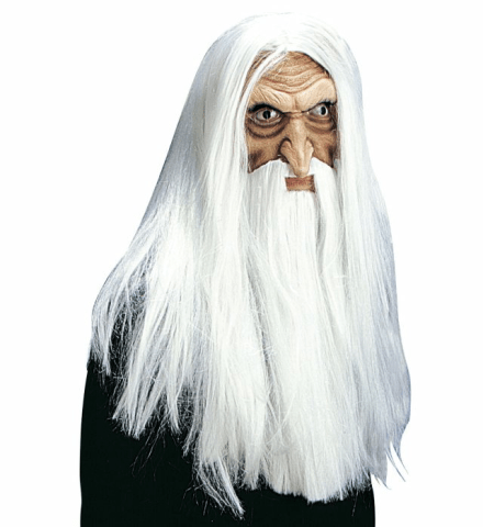 MAGICIAN MASK WITH WIG, MAXI BEARD & MOUSTACHE