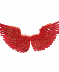 RED FEATHERED WINGS WITH GOLD GLITTER