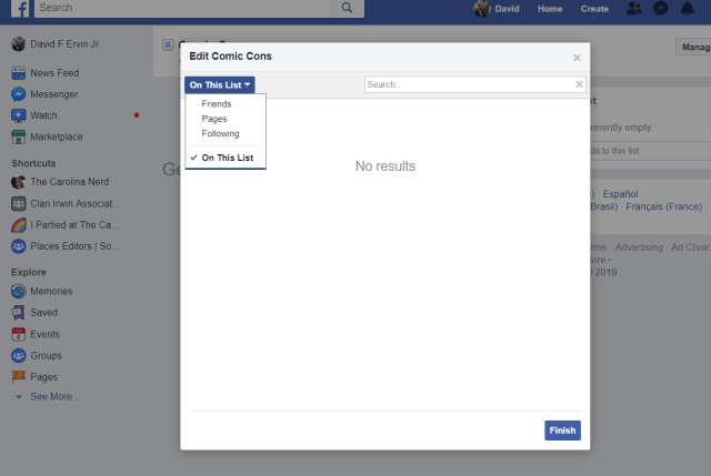 Add pages you have liked to the new list.