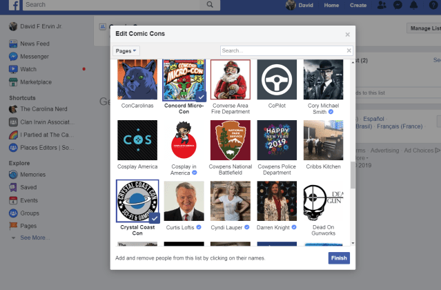 Like pages are displayed. New list completed when Finish is pressed.