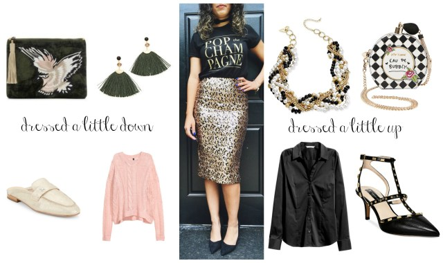 the carolove Leopard Sequin Pencil Skirt