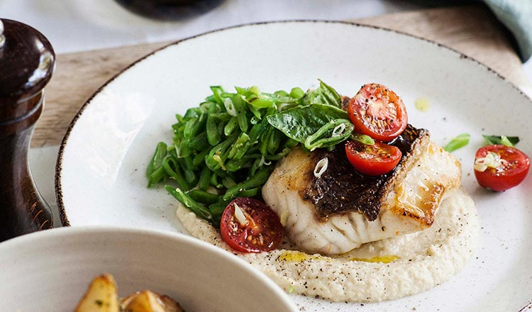 seafood recipe Snapper With Fennel & Roman Beans