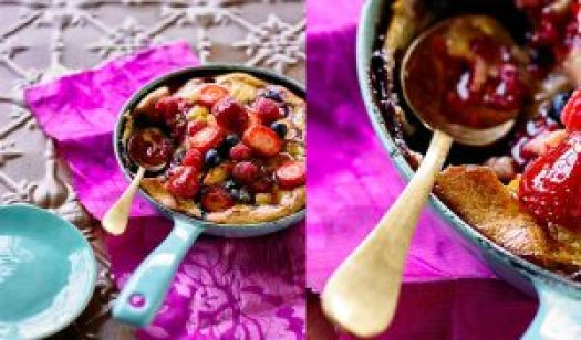 Gluten-free Oven-baked Peach & Berry Pancake