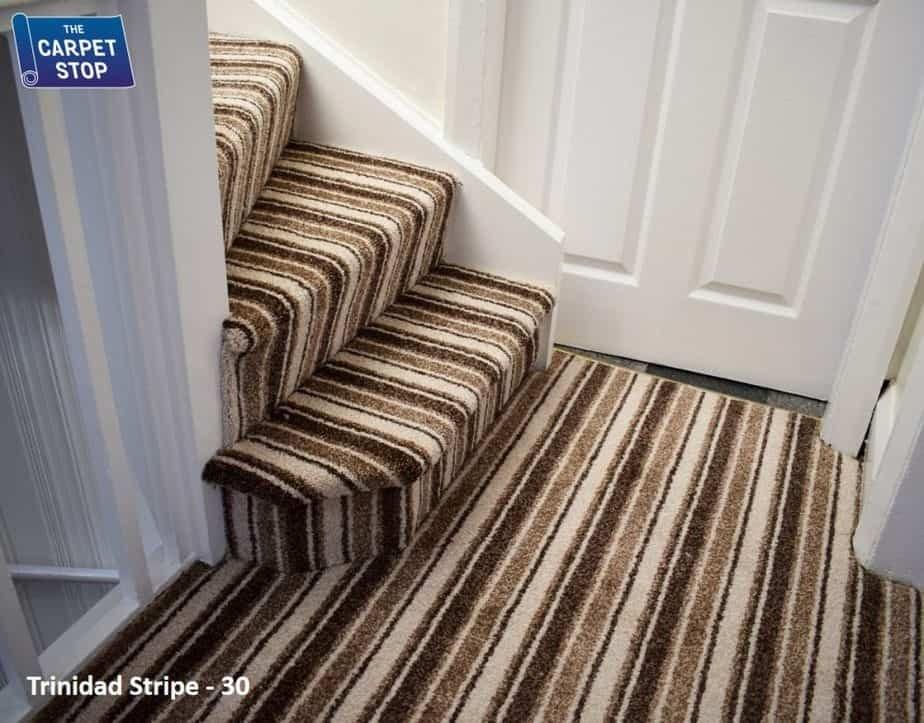 Portfolio Stairs The Carpet Stop   Different Carpet On Stairs To Landing   Des Kelly   Striped Carpet   Wood   Grey Carpet   Flooring