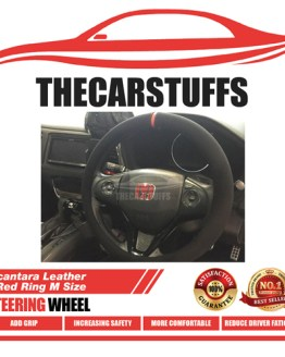 Alcantara Leather + Red Ring M Size Steering Wheel Cover