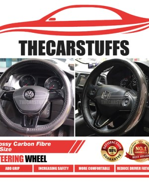 Glossy Carbon Fibre Full Black Steering Wheel Cover