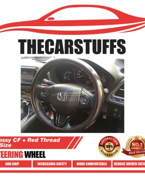 Glossy Carbon Fiber + Red Thread M Size Steering Wheel Cover