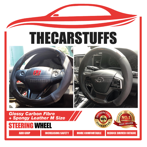 Glossy Carbon Fiber + Spongy Leather M Size Steering Wheel Cover