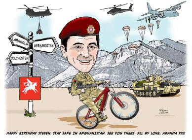 cartoon caricature of army guy on a mountain bike, helicopters in background