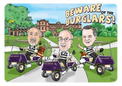 golf caricature - three golfers in golf carts. Labelled 'Beware Burglars!' They are dressed as burglars.