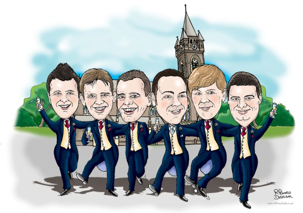 wedding caricature of ushers and best man dancing outside church