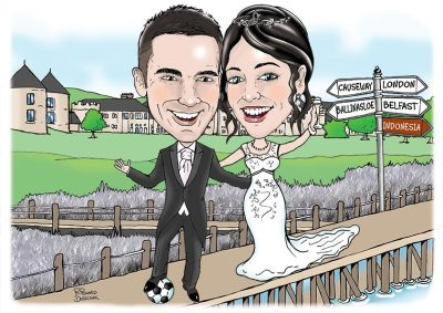 wedding day caricature of groom with his foot on a football with bride with glass of champagne stood on a hotel broadwalk