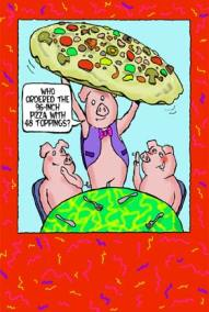 pig cartoon characters sat having a pizza. pig waiter with massive 48 inch pizza