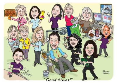 caricature of a dental practice team, boss in dentists chair surrounded by colleagues all doing different things