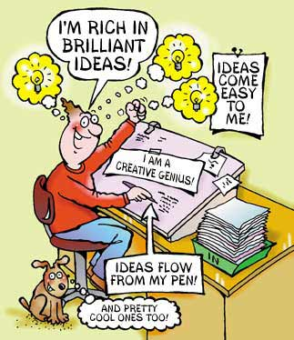 cartoon of a cartoonists sat at his desk, he is rich in ideas thought bubbles coming from his head with idea bulbs in them