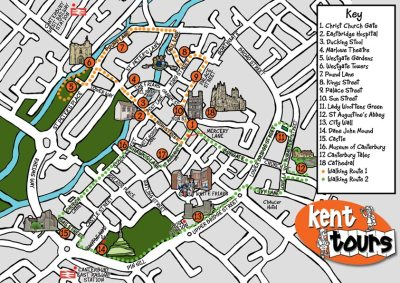 cartoon map of Canterbury for Kent Tours, map to help visitors get around roads and landmarks highlighted