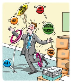 businessman juggling too many balls in an office, he's trying to do too many jobs