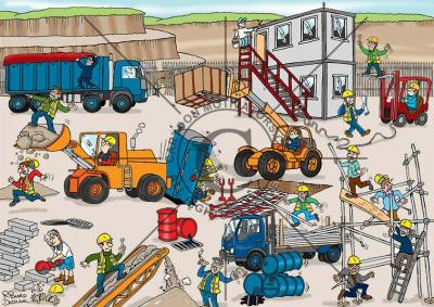safety cartoon customisation - health and safety cartoon based around a quarry with numerous hazards illustrated, like guy riding on conveyor belt, fork lift truck with unsafe load, oil drum leaking, guy block cutting without any PPE.