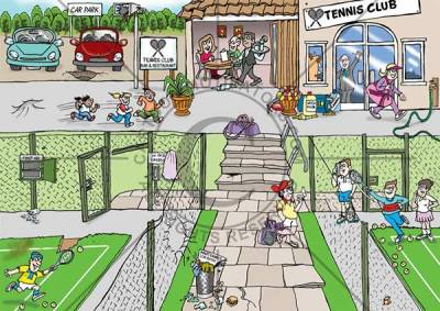 safety cartoons of a tennis club, highlighting various health and safety hazards, trip hazards with wonky paving slabs and worn out tennis court artificial grass, fencing has holes in it, hose pipe is a trip hazard, coach smoking, guy on mobile phone, kids running around unsupervised