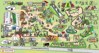 theme park map for Jersey's aMaizin children's fun park, maize maze for kids to find their way around bouncy castles etc
