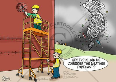 health and safety cartoon of two workers, one is working at height on portable scaffolding while other looks off into the distance where there's a twister on it's way. Caption: Hey, Fred, did you consider the weather forecast?