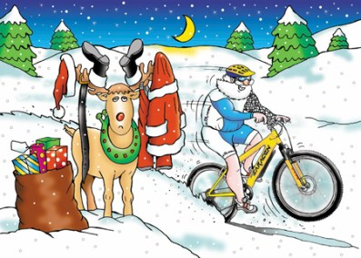 Corporate Christmas card design for Saracen bikes, Santa zooming off on push bike dressed in bikers gear, Rudolf not happy as he has Santa's clothing on his antlers