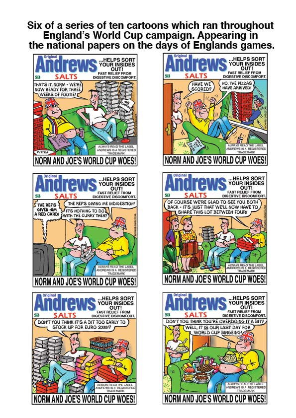 advertising cartoons for Andrews World Cup promotional campaign, six different cartoons