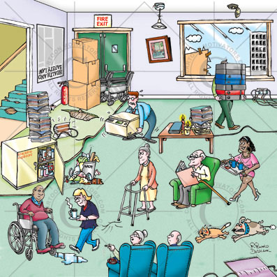 health and safety cartoons care home hazards cartoon, dog chasing cat, trip hazard, stair carpet worn and torn, fire exit blocked, overflowing waste bin, naked flames near papers