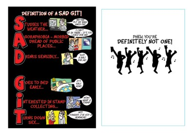 greeting card design for Sid Gatt - who is a really sad git, dancing having a drink
