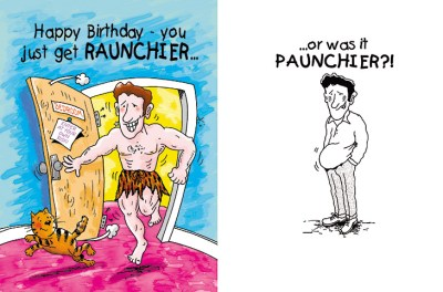 birthday greeting cards design of a hunk of a guy coming through a door dressed like Tarzan