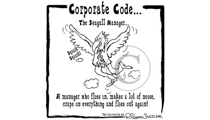 The Seagull Manager - cartoon of a businessman flying with wings flapping away