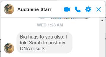 AUDALENE STARR INSTRUCT SARAH TO POST DNA RESULTS